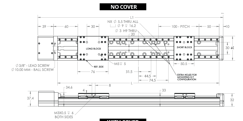 Shasta 33 linear actuator line drawing (no cover)